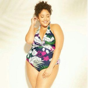 Kona Sol Floral One Piece Swimsuit Halter